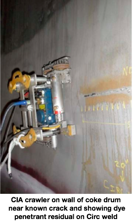 Development of a Remote Robotic Crack Detection System for Internal Inspections of On-line Coke Drums