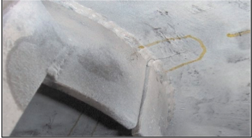 Crack at the Retaining Ring Fillet Propagating into the Base Material
