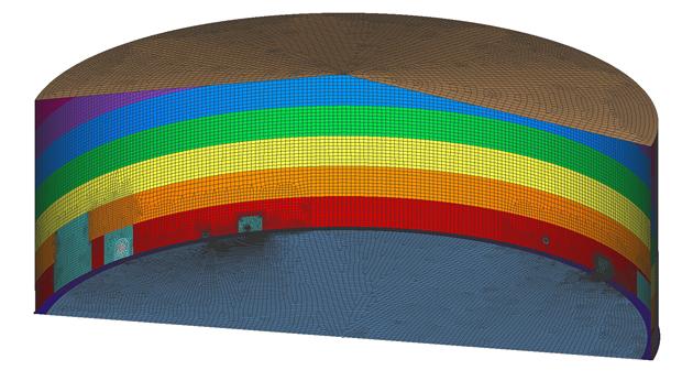 Figure 1. Shell FEA model of tank.
