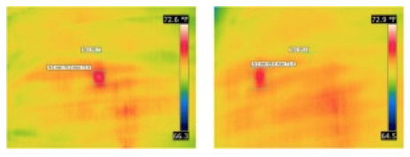 Figure 1:  Thermal images of north side of tank. Both images show the same spot from different angles.