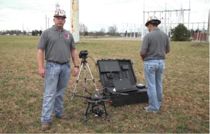 Figure 1. Two technicians, multi-rotor drone unit, and ground station & controls system.