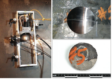 Figure 1. Photographs showing (a) scoop sampler in operation; (b) concave depression left behind in the vessel after sample removal; and (c) scoop sample.